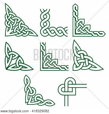 Celtic Green Corners Vector Design Set, Irish Detailed Braided Frame Patterns - Greeting Card And In
