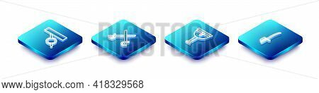 Set Isometric Line Pirate Eye Patch, Crossed Pirate Swords, Wooden Leg And Icon. Vector