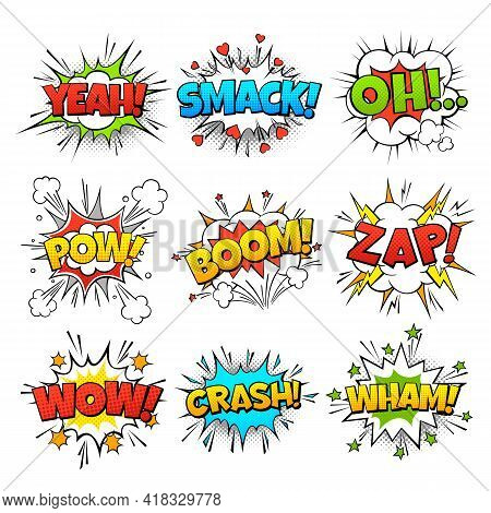 Funny Comic Words In Speech Bubble Frames. Wow Oh Bang And Zap Thinking Clouds. Balloons Of Expressi