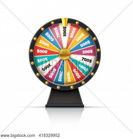 Wheel Fortune. Lucky Game Casino Prize Spinning Roulette, Win Jackpot Money Lottery Circle With Colo