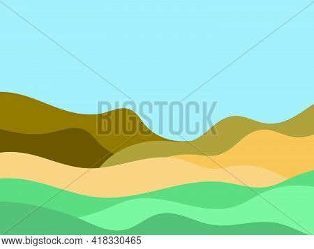 Natural Landscape In A Minimalistic Style. Plains And Mountains, Fields And Meadows. Boho Decor For