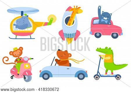 Animal Transport. Cartoon Kids Zoo Characters In Different Vehicles, Cute Fauna Drivers In Helicopte