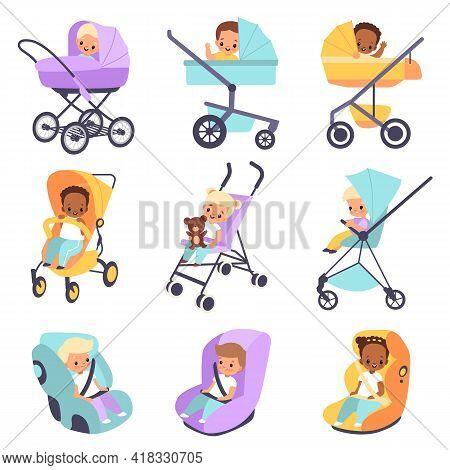 Baby Strollers. Cute Multiethnic Children In Buggies And Car Seats, Kids Walk Transport, Little Boys