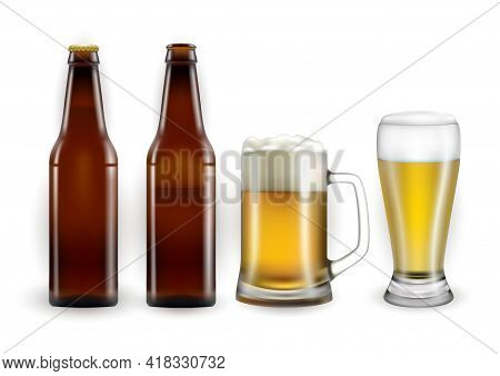 Illustration Of Beer Bottles, Mug And Glass Isolated