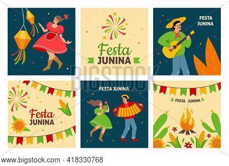 Festa Junina. Traditional Latin American Fertility Festival, Dancing Pueblos People With Instruments
