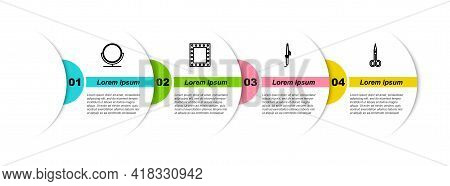 Set Line Round Makeup Mirror, Makeup With Lights, Curling Iron And Scissors. Business Infographic Te