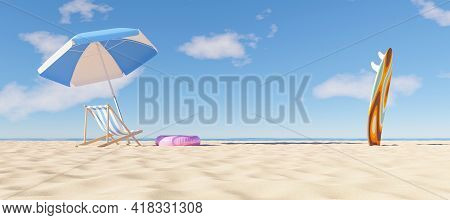Umbrella With Beach Chair And Surfboard On The Beach. Summer Time. Copy Space. 3d Render