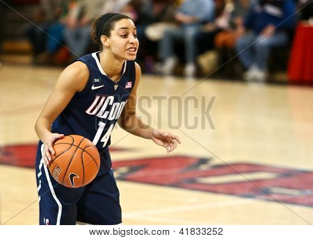 JAMAICA-FEB 2: Connecticut Huskies guard Bria Hartley (14) looks to pass against the St. John's Red Storm during the second half at Carnesecca Arena on February 2, 2013 in Jamaica, New York.