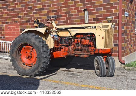 Gary, Minnesota, April 17, 2021. The Old Case Comfort King 730 Tractor Is A Product Now Owned By J.i