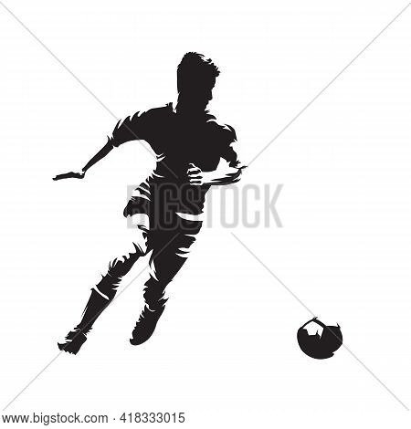 Soccer Player Running With Ball, Isolated Vector Silhouette. Abstract Soccer Logo. Front View