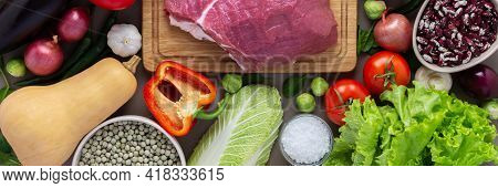 Organic Vegetables With Fresh Piece Of Beef Fillet