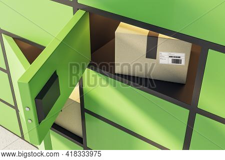 Automated Self-service Green Terminal For Issuing Goods Purchased From Online Store. 3d Rendering