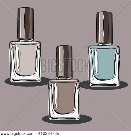 Nail Polish, Manicure. Beauty Saloon. Decorative Cosmetics. Eyeshadows, Powder, Eyeshadow Palette.