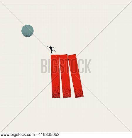 Business Disruption Domino Fall Vector Concept. Symbol Of Originality, Strategy. Minimal Illustratio