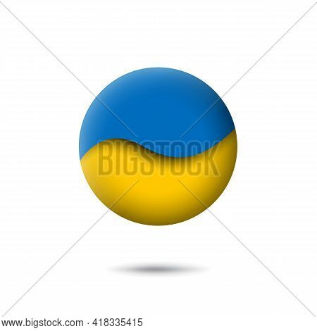 Ukraine Flag Icon In The Shape Of Circle. Abstract Waving Flag Of Ukraine. Paper Cut Style. Vector S