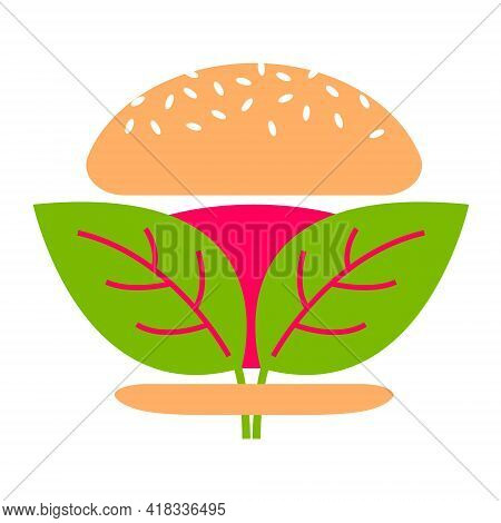 Beyond Meat Vector Icon. Plant Based Hamburger. Green Leaves Instead Of Meat Cutlet. Vegan Product M