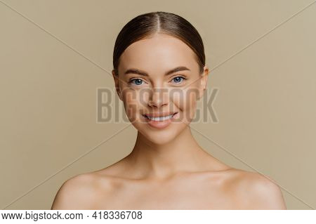 Beauty Portrait Of Charming European Woman With Beautiful Face Healthy Complexion Well Cared Body Sm