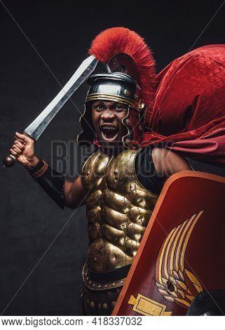 Proud Roman Warrior Of African Descent Holding Gladius