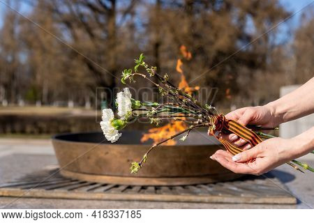 Victory Day. Eternal Flame. White Carnations. Hand Of Woman With Branches With First Leaves, George