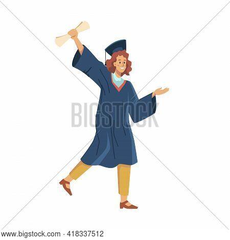 Happy Female Graduated Student Celebrate Graduation College, University Or High School Flat Cartoon