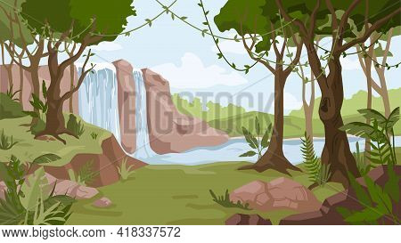 Waterfall Jungle Landscape Cartoon Background. Vector River Streams Of Water Flowing, Green Exotic F