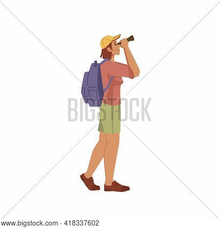 Traveler Looks Through Binoculars Isolated Flat Cartoon Character. Vector Man Woman Looking In Field