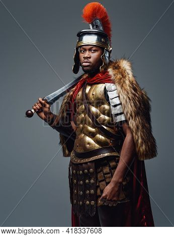 Ancient Roman Soldier Of African Descent With Sword