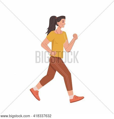 Jogging Woman In Casual Cloth Isolated Cartoon Style Character, Running Female With Pony Tail, Side
