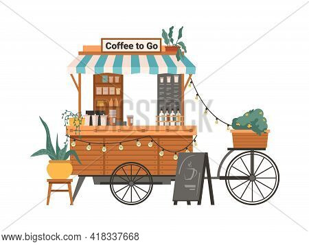 Coffee Mobile Bike Kiosk Isolated Small Takeout Takeaway Shop. Vector Street Food Cart With Awning,