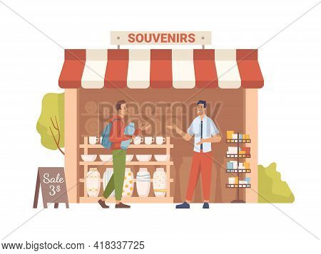Souvenir Shop With Awning, Sale On Market, Seller Show Goods To Buyer, Flat Cartoon People. Vector S