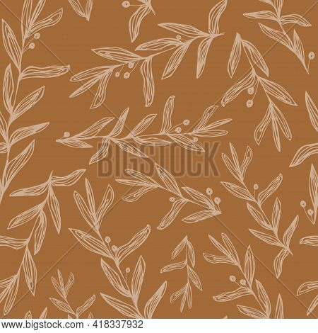 Abstract Botanical Seamless Pattern With Line Art Plant Branches