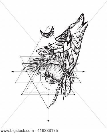 Vector Illustration Of Black And White Wolf, Peony Flower, Moon, Sacral Geometric Simbols Isolated O