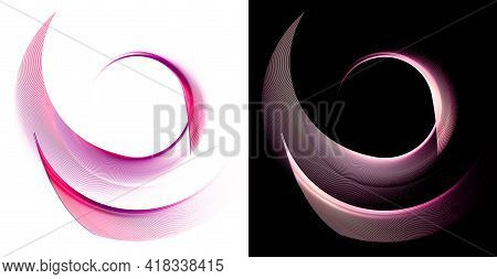 The Magenta Arcuate Planes Are Layered To Form A Circular Frame On A White And Black Background. Gra