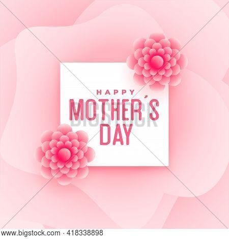 Happy Mother's Day Pink Flower Card Design Vector Illustration