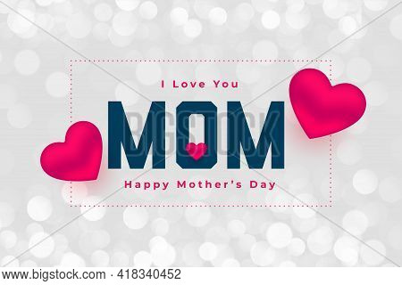 Happy Mothers Day Hearts Background Design Vector Illustration