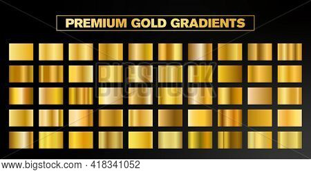 50 Premium Vector Gold Gradient Styles. Golden Squares Collection. Golden Background Texture. Mega C