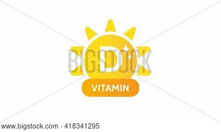 Vitamin D. Label, Icon, Logo Design. Medicine, Healthcare, Eco, Organic, Bio Theme. Vector Simple Il