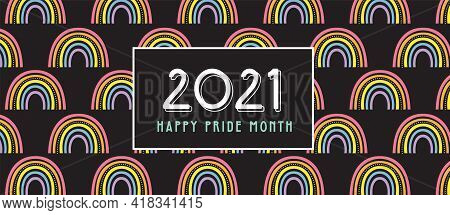 Lgbt Pride Month In June Poster And Banner. Lesbian Gay Bisexual Transgender. Celebrated Annual Prid