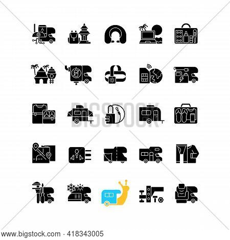 Nomadic Vacations Black Glyph Icons Set On White Space. Roadtrip Trailer. Van For Tourist Lifestyle.