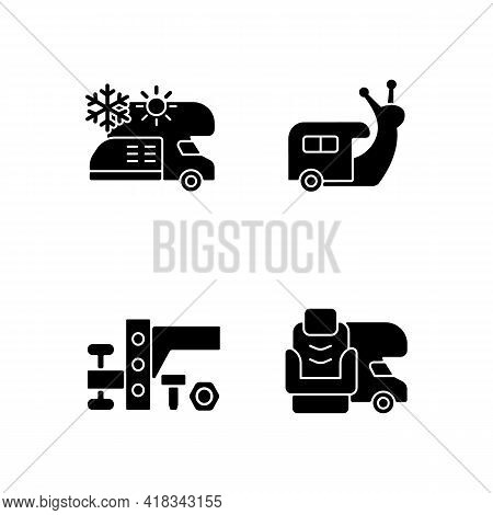 Recreational Vehicle Black Glyph Icons Set On White Space. Slow Travel. Air Conditioning And Heating