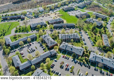 Top View Apartments Complex Building Urban Lifestyle District Landscape With Small American Town