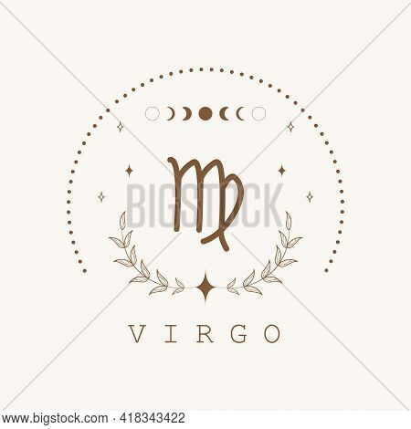 Virgo. Zodiac Sign In Boho Style. Astrological Icon Isolated On White Background. Mystery And Esoter