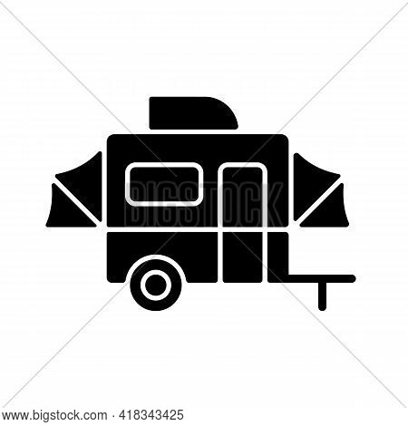 Pop Up Camper Black Glyph Icon. Campground For Tourist To Rest. Recreational Vehicle. Roadtrip Gear.