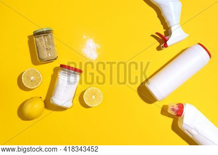 Eco-friendly Natural Cleaners, Cleaning Products Against Chemical Detergent Bottles. Cleaning Tools