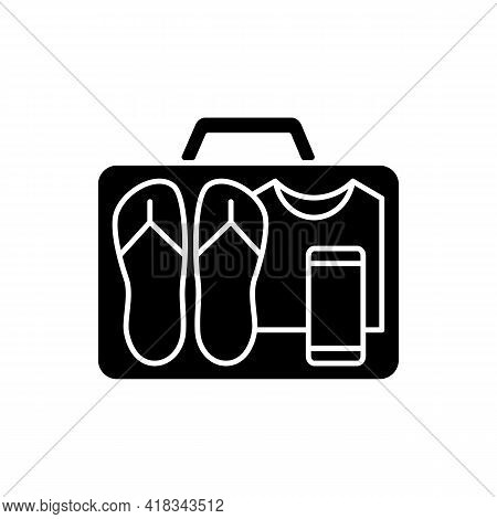 Minimalist Mindset Black Glyph Icon. Pack Clothing In Luggage. Apparel In Suitcase. Roadtrip Gear. N