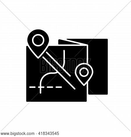 Nomadic Tour Black Glyph Icon. Roadtrip Planning. Map With Gps Pin For Touring. Nomadic Lifestyle. C