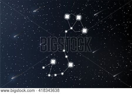 Scorpio. Zodiac Constellation On Outer Space Background. Mystery And Esoteric. Horoscope Vector Illu