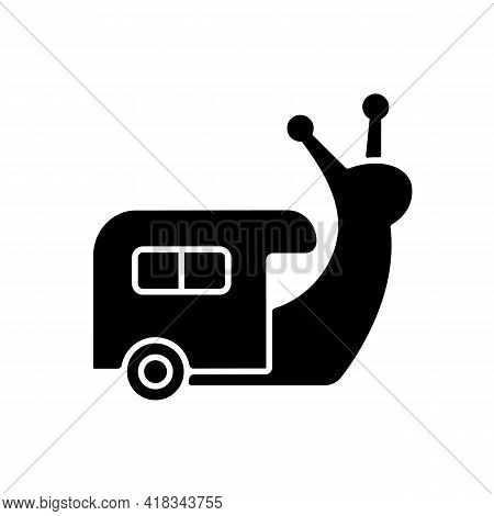 Slow Travel Black Glyph Icon. Recreation And Rest During Tour. Roadtrip In Trailer. Nomadic Lifestyl