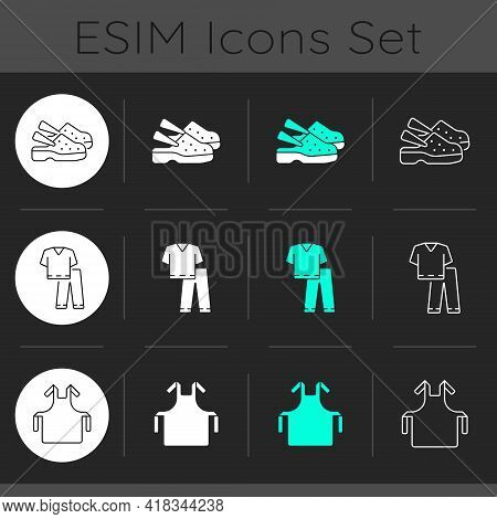 Disposable Medical Uniform Dark Theme Icons Set. Medical Shoes. Scrub Suit. Disposable Ppe. Sterile