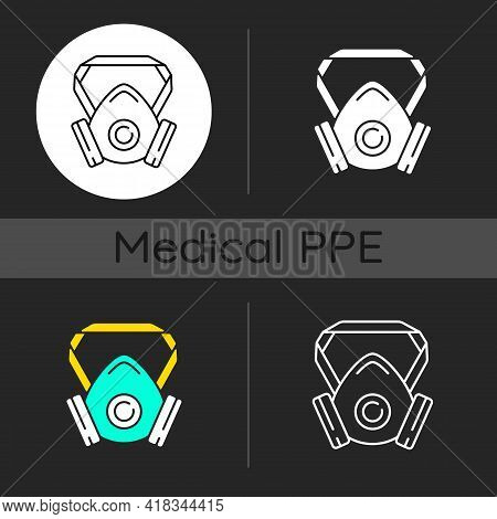 Respirator Dark Theme Icons Set. Protective Wear From Infection. Facial Mask For Safe Breathing. Dis